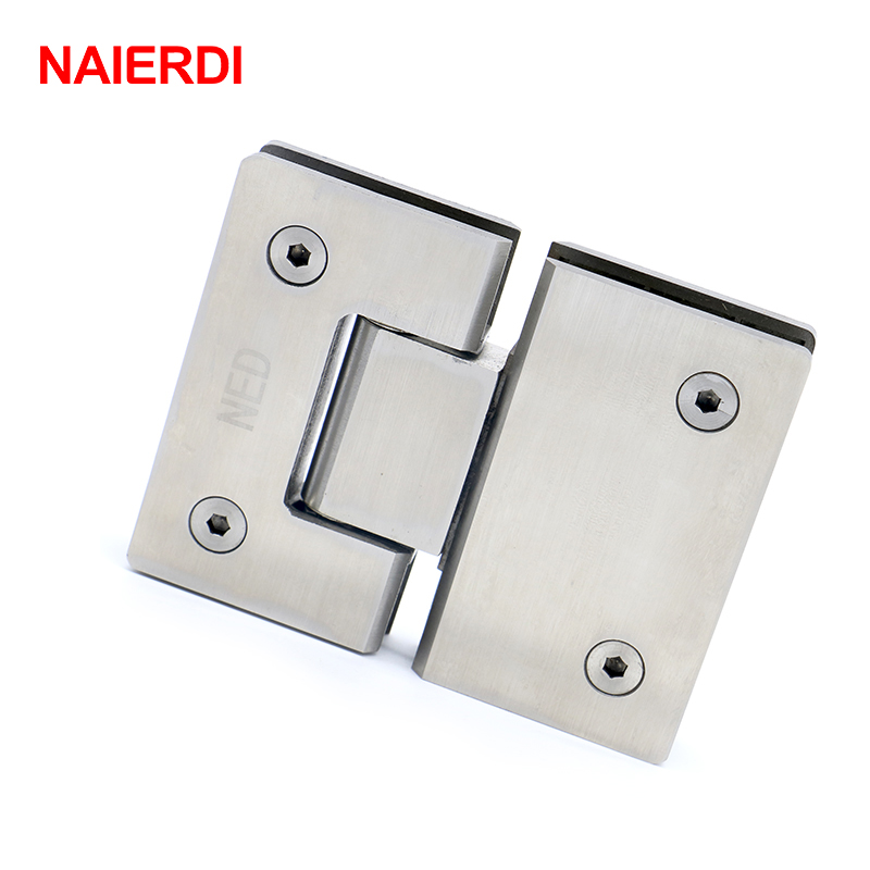 NAIERDI 2PCS 180 Degree Hinge 304 Stainless Steel Wall Mount Glass Shower Door Hinges For Home Bathroom Furniture Hardware 2pcs 90 degree bronze stainless steel hinges frameless wall to glass bathroom shower door hinge wall mount 8 10mm hinge jf1773