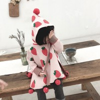 Baby Girl Sweater Strawberry Pattern Hair Ball Knitted Sweaters 2 3 4 5 6 Y Toddler Kids Hooded Pullover Girls Cloak Trench Coat
