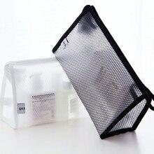Travel Cosmetic Bag Small Package Simple Transparent Mesh Pencil Kid Case Gadget Porta Caneta Environmentally Friendly 60A18
