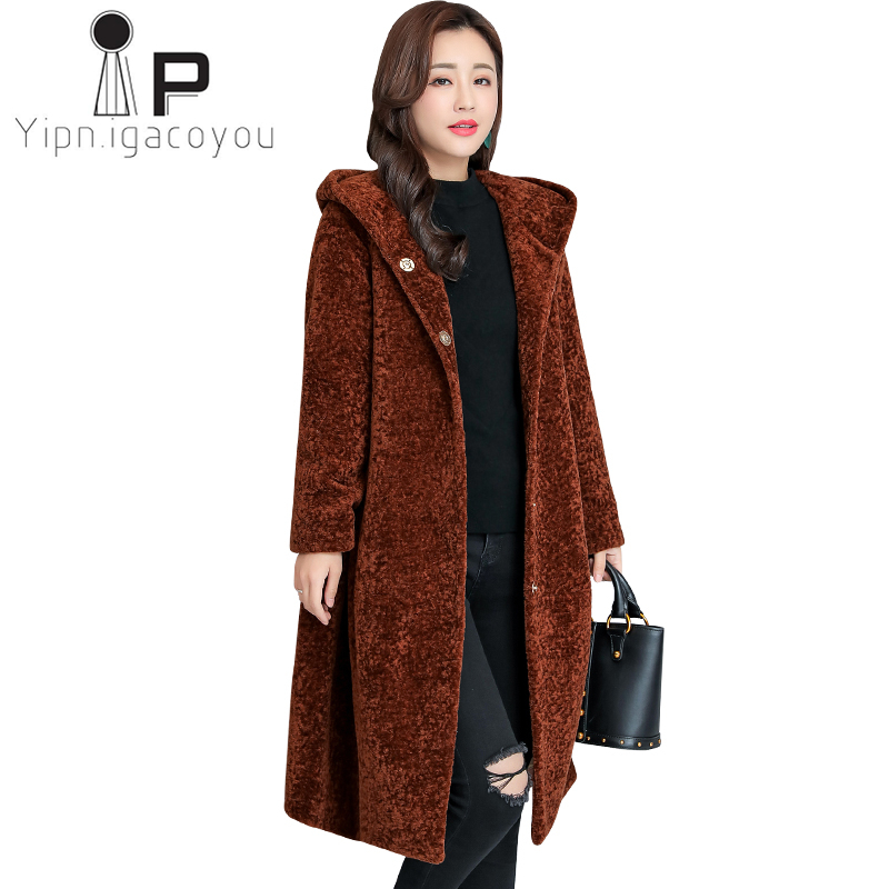 Winter Long Faux Fur Coat Women Hooded Fake Fur Jacket Women Overcoat Plus size High Quality Fluffy Thick Warm Ladies Black Coat