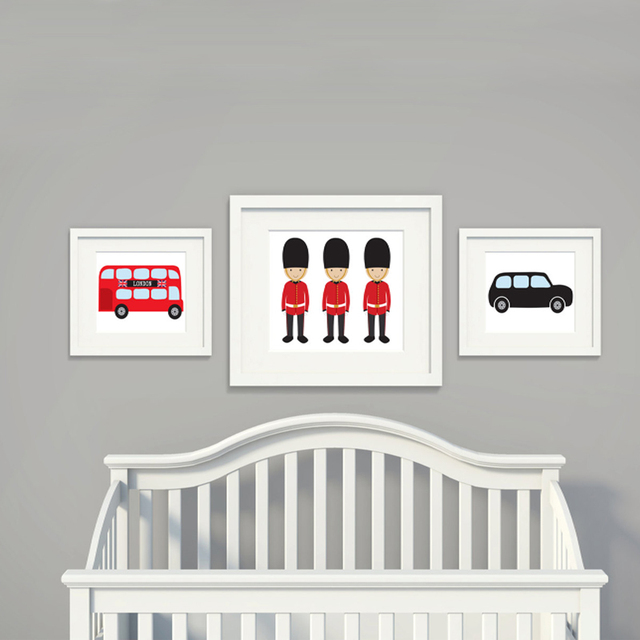 London Bus Theme Canvas Painting Nursery Wall Art Subway Posters And Prints Pictures For Kids Living