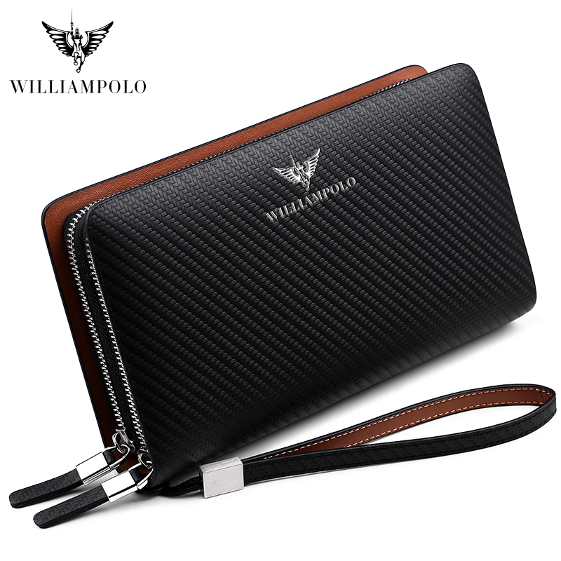 WILLIAMPOLO 2019 Luxury Business Solid Double Zipper Men Genuine Leather Handbag Cowhide Long Men Clutch Bag