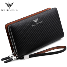 WILLIAMPOLO  Luxury Business Solid Double Zipper Men Genuine Leather Handbag Cowhide Long Men Clutch Bag Wallet williampolo minimalist business men s clutch bag genuine leather flap handy wallet men clutches with cigarette case phone pocket