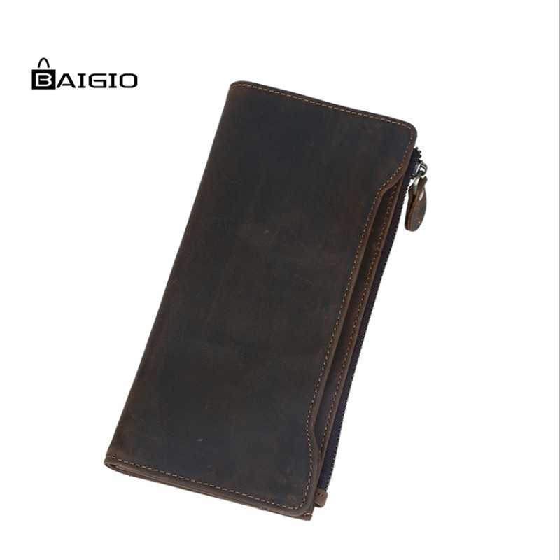ФОТО Baigio Wallet Men Italian Calfskin Leather Long Slim Wallets Vintage Style Designer Card Holders Zipper Hand Clutches Purses Men