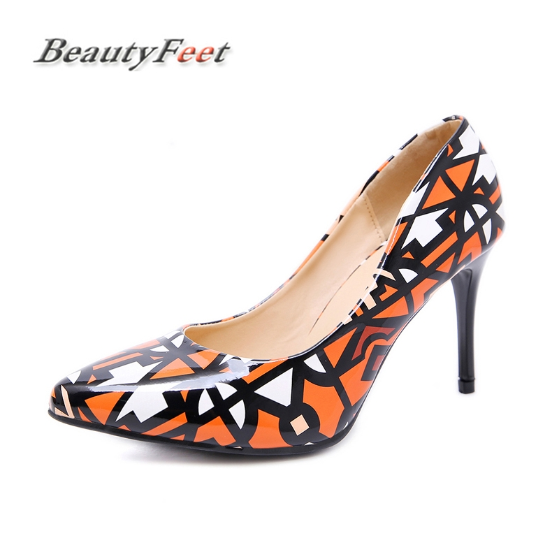 New Fashion Sexy Ladies Shoes Woman Party Pumps Plus Size High Heel Pointed Toe Office Shallow Graffiti Wedding Shoes BeautyFeet