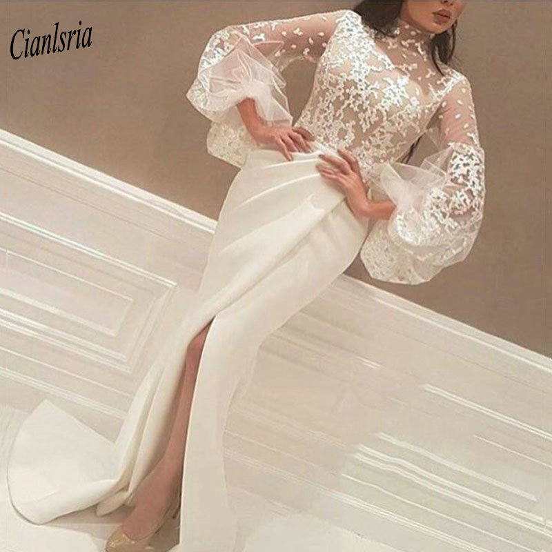 Ivory Muslim Mermaid   Evening     Dress   2019 High Neck Long Sleeve Appliques High Split Islamic Dubai Arabic   Evening   Party   Dresses