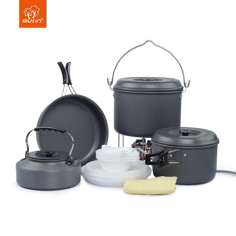 Bulin 7 Pessoa Camping Cooking Pot Pan Set Chaleira Caminhadas Ao Ar Livre Kit Bagunça Panelas BL200-C9