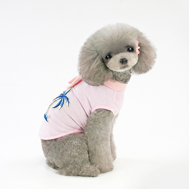 dog vest New spring and summer festival Pet Clothing puppy Medium dogs cloths Teddy Bulldog Fashion Leisure coconut embroidered 3