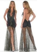 Women erotic Lingerie sex leopard long dress 626 fashion Strappy Mesh Night Dressing Gown Set female nightgown Sleepwear