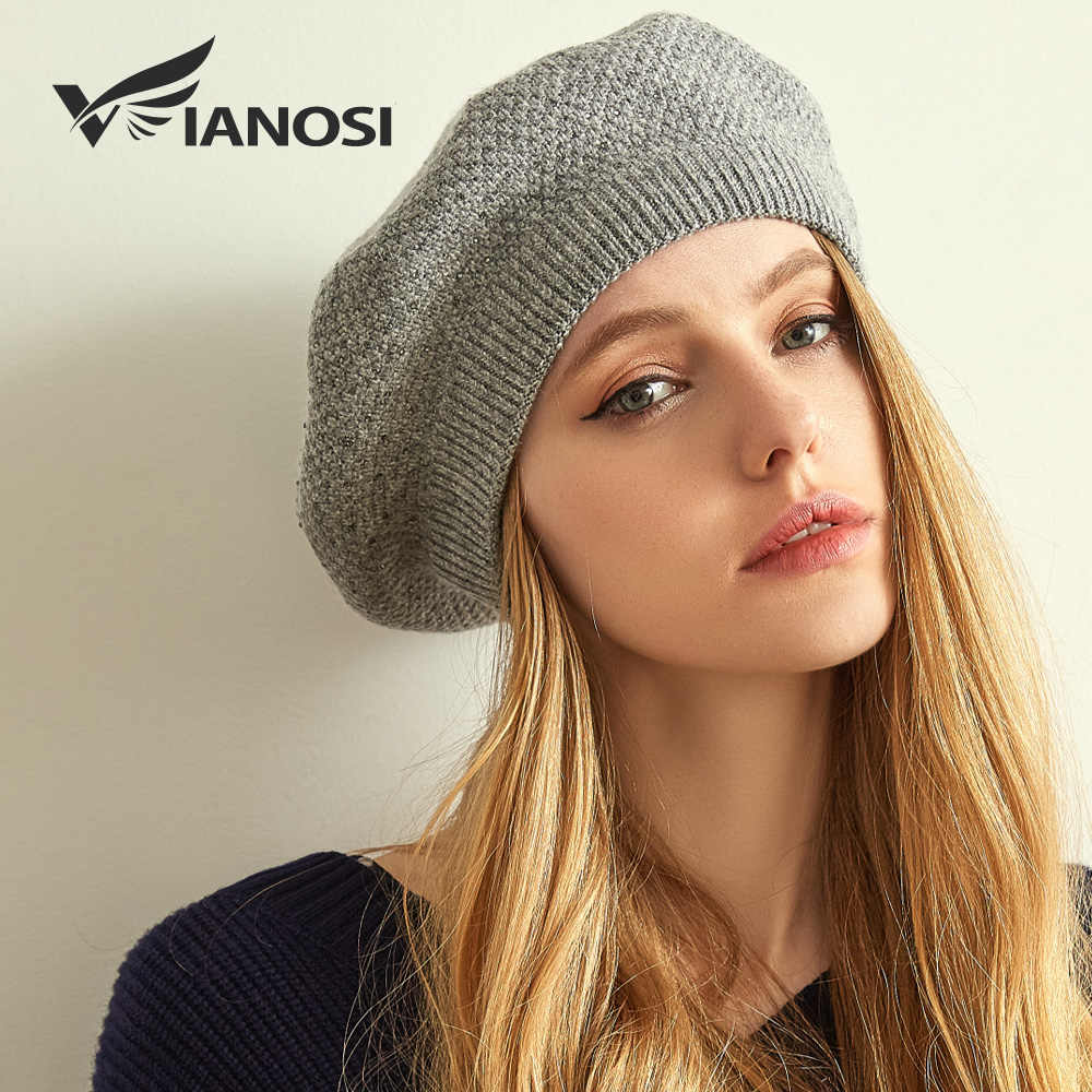 97a10e13 ... VIANOSI Women Winter Beret Hat Female angora wool knitted berets Luxury  Rhinestone Caps Fashion Solid color