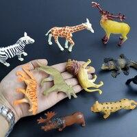 Pequenas figuras de animais selvagens mini brinquedo de plástico para o miúdo menino selvagem set modelo animal barato da vida selvagem da selva dos desenhos animados estatueta em miniatura