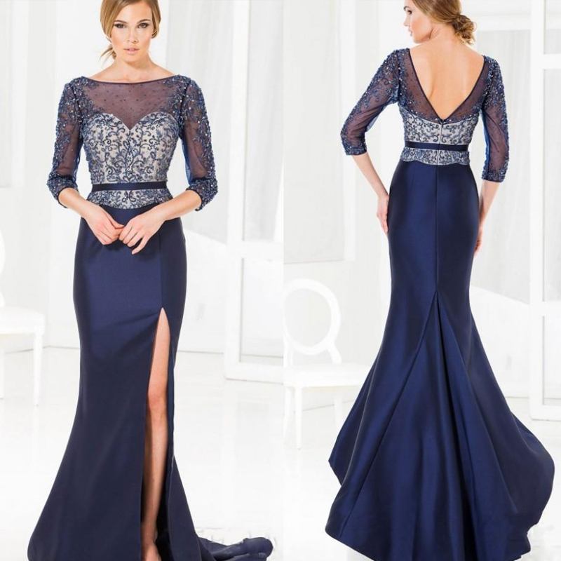 2016 Lace Mermaid Mother Of The Bride Dresses Groom: Mermaid Navy Blue Beaded Lace Women Long Formal Gown 2016