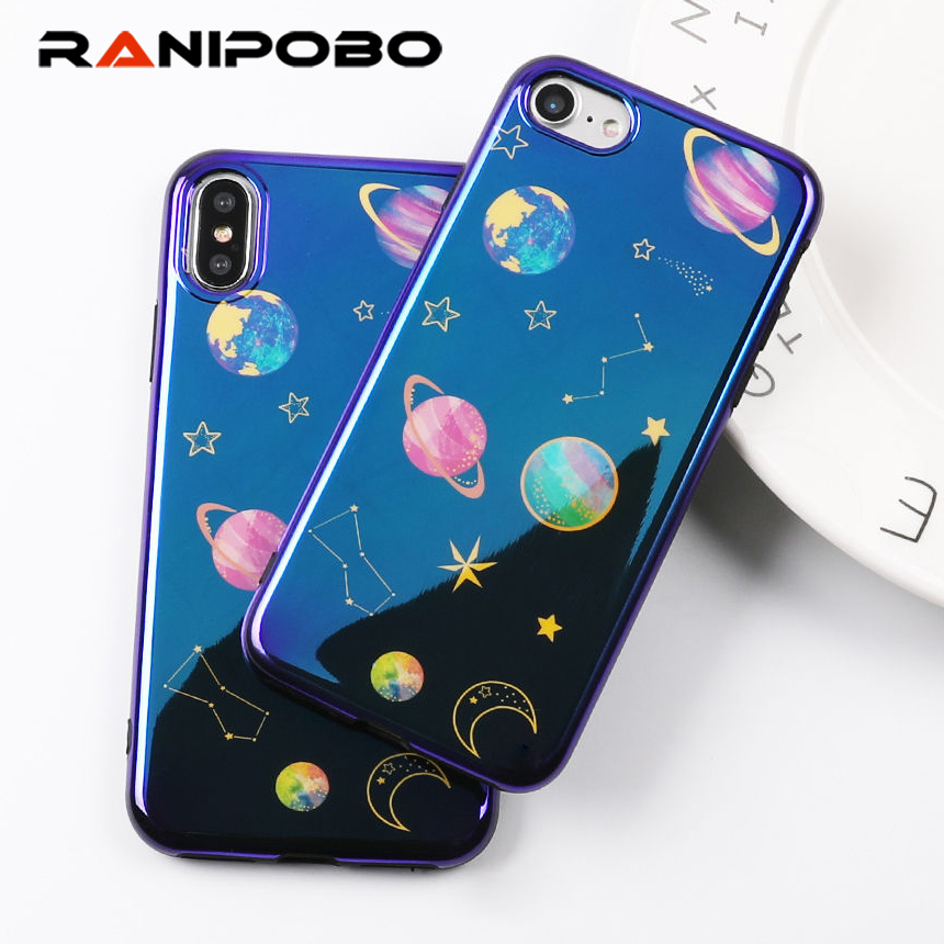 Cool Blu Ray Phone Case For iphone X Case For iphone 6 6S 7 8 Plus Cartoon Planet Moon Star Back