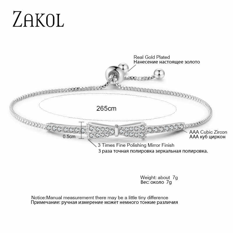 Zakol Mới Nhất Dễ Thương Zirconia Pha Lê Quyến Rũ Có Thể Điều Chỉnh Vòng Tay Nơ Vòng Đeo Tay Cho Nữ Cô Gái Tiệc Cưới Trang Sức FSBP2028