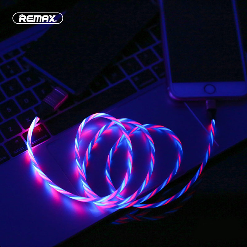 Remax LED Glowing Flowing 2.1A USB Cable Fast Charging for iPhone 11 Pro Xs max XR X 8 7 6 plus 6s 5 s
