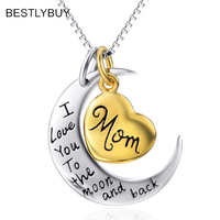BESTLYBUY 925 Sterling Silver Heart I love You to the moon and back Pendant Necklace for Women Party Jewelry