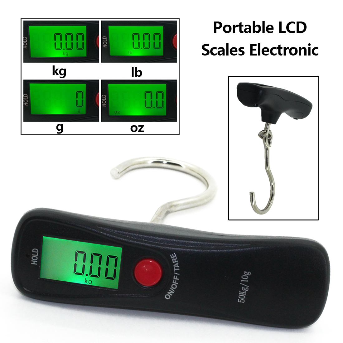 Accurate weight measurement Electronic scale 50kg portable LCD display hanging kitchen weights hand scale Fishing hook scales
