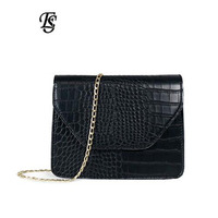 2019 new fashion casual women's bag shoulder diagonal mobile phone bag crocodile pattern mini chain small square bag