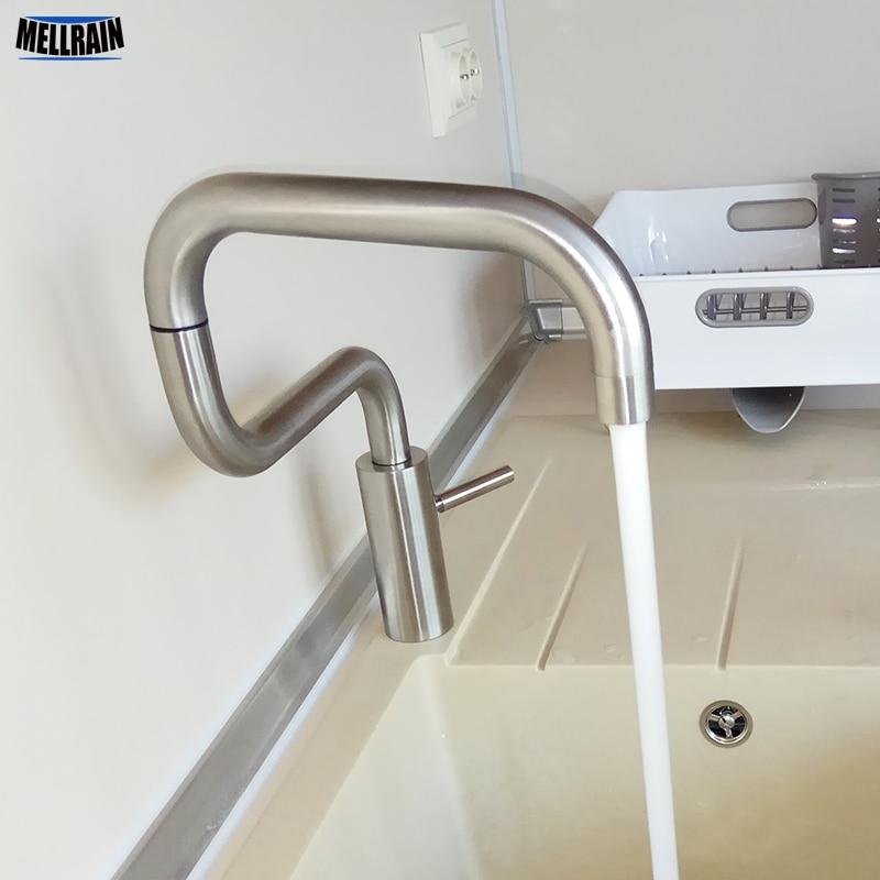 แฟชั่นการออกแบบแปรงสแตนเลสก๊อกน้ำห้องครัว 2 place 360 หมุนอ่างล้างหน้าน้ำเพื่อสุขภาพแตะ-ใน ก๊อกน้ำในห้องครัว จาก การปรับปรุงบ้าน บน AliExpress - 11.11_สิบเอ็ด สิบเอ็ดวันคนโสด 1