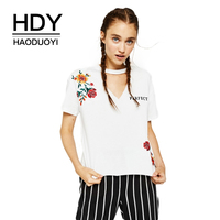 HDY Haoduoyi Brand 2018 Women New Fashion Casual Simple Youth Hollow Flowers Embroidered Pearl Decorative V