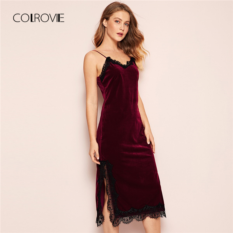 COLROVIE Burgundy V Neck Eyelash Lace Split Velvet Long Cami Night Dress 2018 Autumn Sexy Sleepwear Women Vintage Nightgown