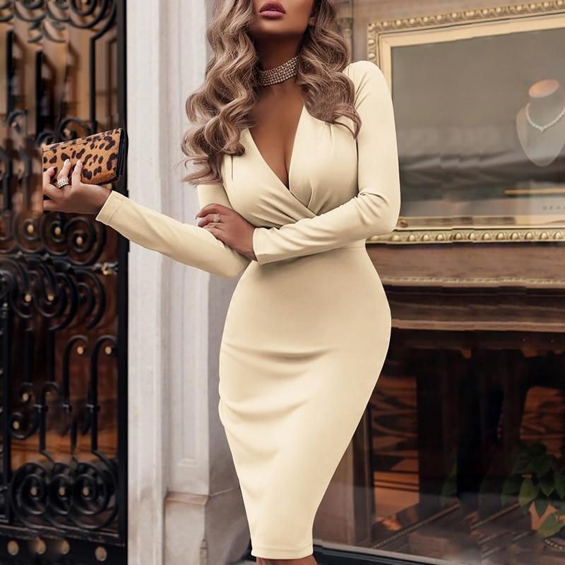 New Spring Long Sleeve Solid Bodycon Party Dress Sexy Women Deep V-neck Wrap Dress Elegant Knee-Length Pencil Dresses S-XXL