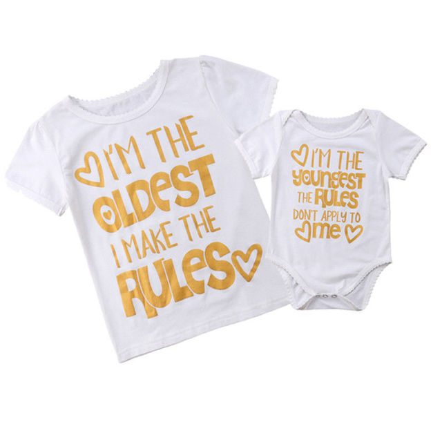 fb408caaf91 2018 Big Sister T-shirt Little Sister Romper Family Matching Tops Summer  Summer Rules Letters Casual Clothes