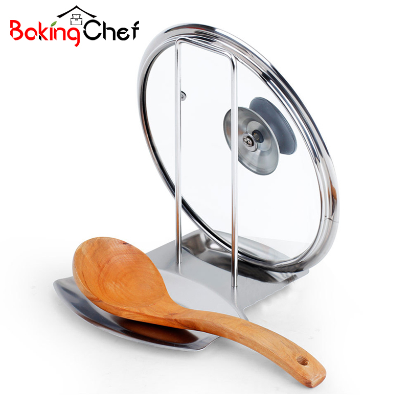 BAKINGCHE Stainless Steel Pot Cover Rack Dinner Plates Kitchen Shovel Spoon Rests Clips Holder Gear Accessories Supplies Case