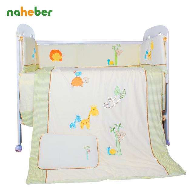 7 unids/set baby bedding set cuna bedding set para niñas de dibujos animados de algodón desmontable cuna edredón almohada bumpers sábana ajustable
