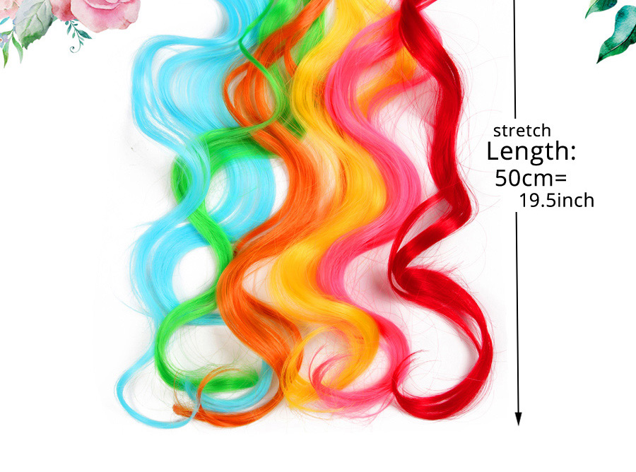 HTB1OVhldEz.BuNjt j7q6x0nFXaR - Alileader 18Inch Curly Clip One In Hair Extensions Natural Long Synthetic Hairpieces For Women Girl Pink Blue Colorful