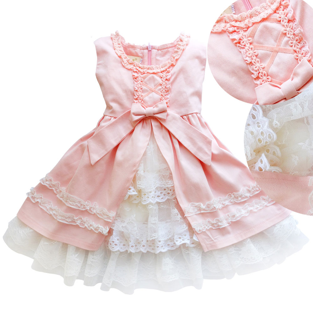 Baby girl dress Spring&Summer kids school  Clothes apricot/pink Princess Birthday Party Children's dresses 3 4 8 10 11 years old 2017 girls summer spring dress children adorable princess dress adolescent kid party dresses 6 7 8 9 10 11 12 years kids clothes
