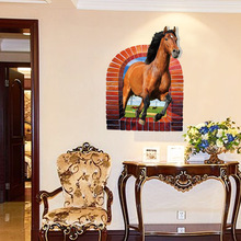 Gallant Horse 3D Wall Sticker Removable Waterproof Mural Decor Decals for Living Room Parlour Creative Home Decor Tools