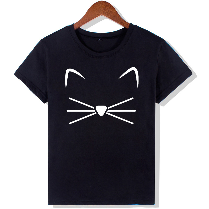 harajuku black t shirt women tops punk cartoon cat face letter print tee shirt femme t shirt. Black Bedroom Furniture Sets. Home Design Ideas