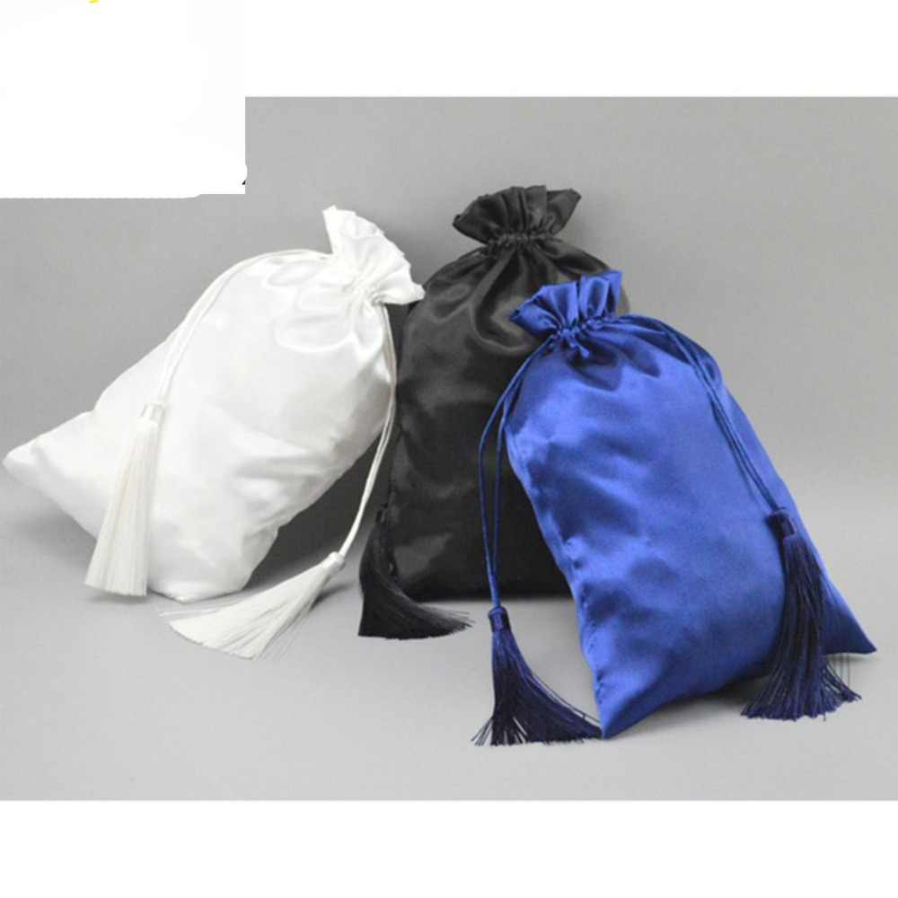 Nero Vergine Extensions Raso Imballaggio Sacchetto di Seta Con Regalo di Lusso di Imballaggio Capelli Borse