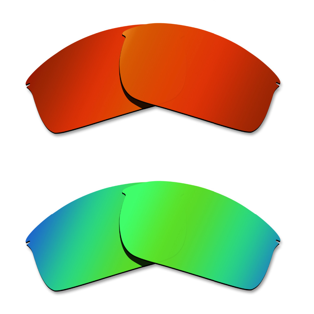 Glintbay 2 Pairs Polarized Sunglasses Replacement Lenses for Oakley Wiretap Fire Red and Emerald Green