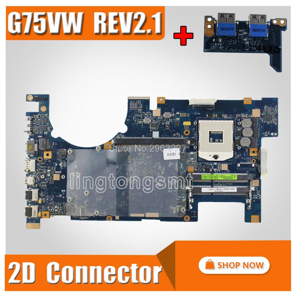 send board G75VW Motherboard REV 2 1 2D Connector For ASUS G75V G75VW Laptop motherboard G75VW