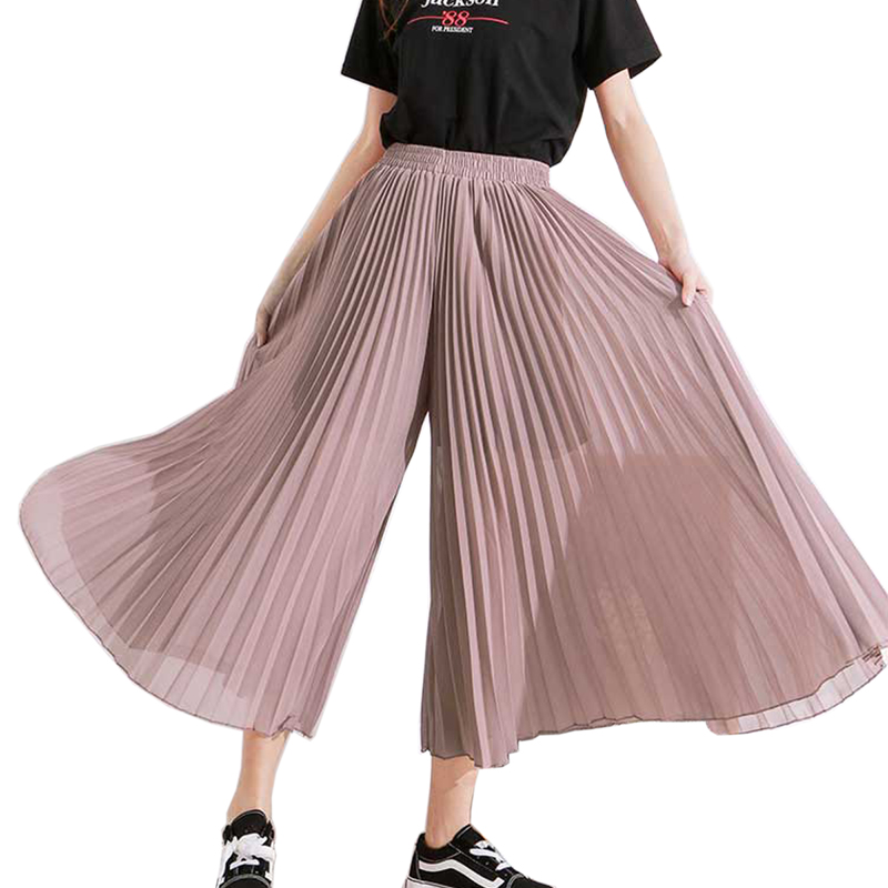 High Waist Chiffon   Pants   Women Pantalon Femme Summer Beach Chiffon Pleated   Pants   Bohemian   Wide     Leg   Trousers Women   Wide     Leg     Pants
