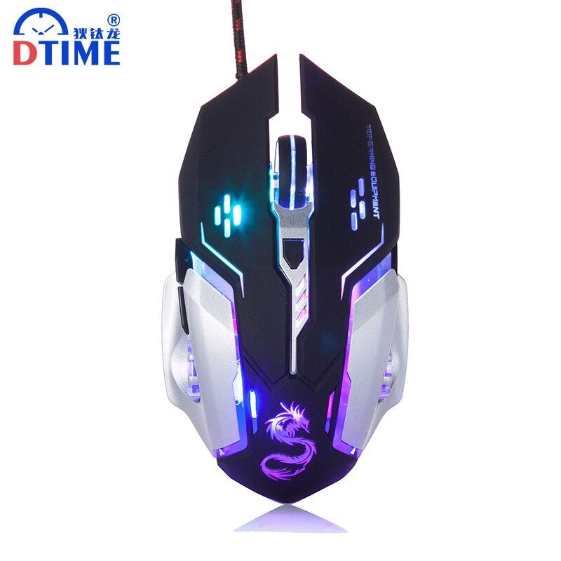 Dtime бренд Проводная оптическая Мышь USB компьютера Мыши компьютерные 3200 Точек на дюйм 6 пуговиц Pro Gamer Мышь для портативных ПК X6 светодиодная подсветка