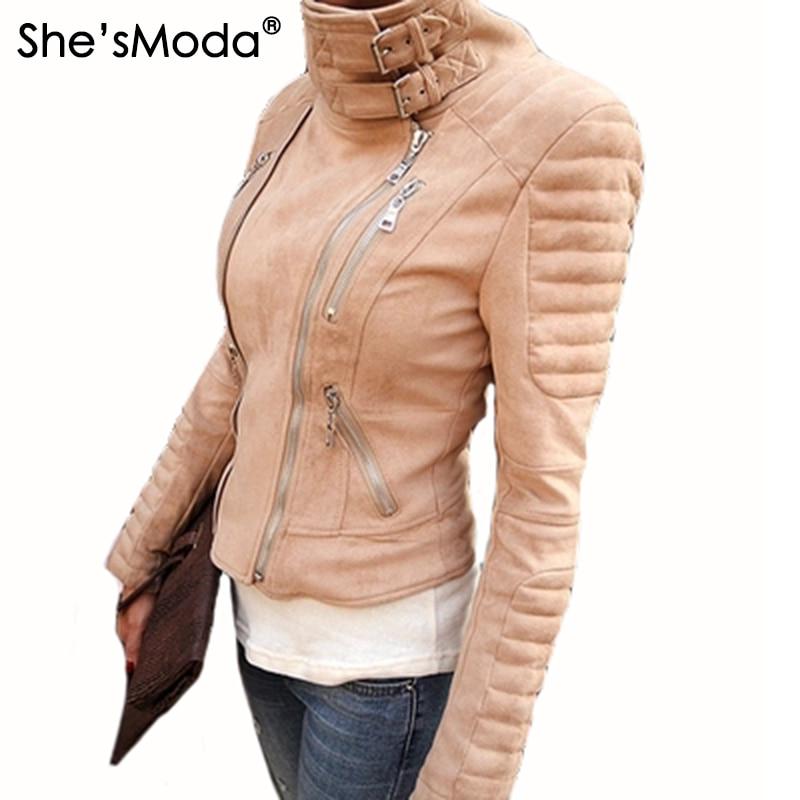 Suede Padded Shoulder Slim Women's Punk Motorcycle Zipper Coat Jacket
