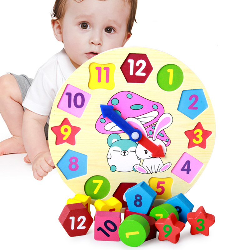 Candywood New Baby Kids Wooden cartoon rabbit clock Education Wooden Jigsaw Puzzle Toys geometric shape matching children's toys special preschool children tong yizhi world map flags inserted wooden jigsaw puzzle assembled three dimensional toys no