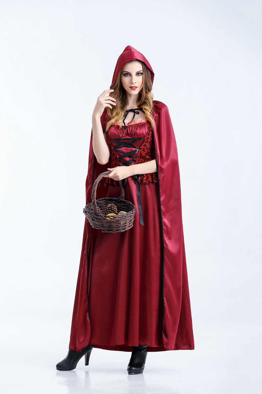 9e1420c7d53 ... М-XL Новый взрослых Красная Шапочка Косплэй костюм пикантные Панк  Готический Ведьма платье для взрослых ...