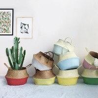 Nordic colored straw Clothes toys debris storage basket Double handle fold Rattan storage basket flower pot Big belly basket