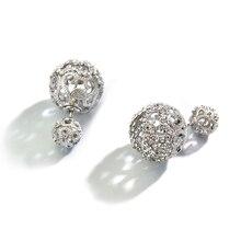 YANDA Retro Hollow Ball Stud Earrings For Women Double Side CZ Crystal Wedding Party Earrings Jewelry Female Ear Brincos Gifts