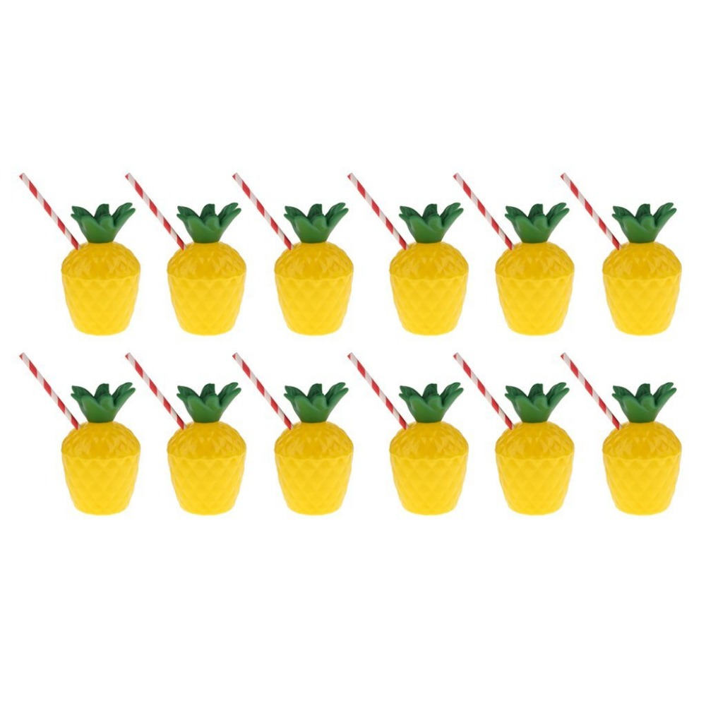 12pc Hawaiian Tropic Fruit Pineapple Drinking Cup with Straw Luau Beach Party Supplies Wedding and party decoration