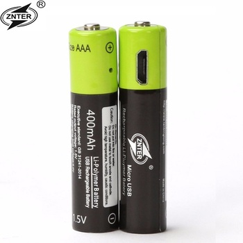 AAA 1.5V 400mAh USB Rechargeable Battery Universal ZNT7 Lithium Polymer Batteries Bateria With Micro USB Cable ROHS CE Wholesale