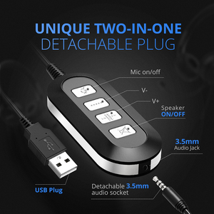 Image 5 - 2PCS Mpow PA071 Wired Headphones Headset With Noise Reduction Sound Card 3.5mm/ USB Plug Earphone For Call Center PC Phones Pad