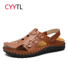 CYYTL 2019 Summer Men Sandals Leather Beach Male Shoes Classic Roman Casual Outdoor Slippers Water Flip Flops Sandalias Hombre