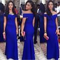 Elegant Royal Blue Vestidos de Noche Largo 2017 Nueva Llegada Vestidos Formales de La Sirena Del Hombro Partido de Las Mujeres Vestido De Traje De Soirée