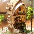 Бесплатная доставка сборка DIY миниатюрный комплект модель деревянная кукла дом / деревянная игрушка миниатюрный кукольный домик casa de boneca
