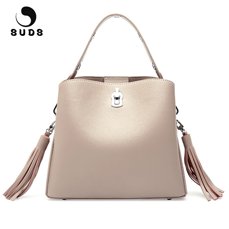 SUDS Brand Genuine Leather Women Messenger Bags Luxury Handbags Women Bags Tassel Crossbody Bags Female Cow Leather Bucket Bags suds brand women casual 100